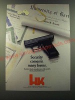 1986 Heckler & Koch HK P7 M8 9mm Pistol Ad - Security comes in many forms