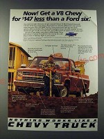 1986 Chevy Pickup Truck Ad - Now! Get a V8 Chevy for $147 less than a Ford six