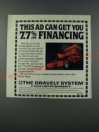 1986 Gravely Lawn Tractor Ad - This ad can get you 7.7% apr financing