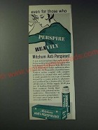 1963 Mitchum Anti-Perspirant Ad - Even for those who perspire heavily