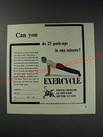 1963 Exercycle Exercise Machine Ad - Can you do 25 push-ups in one minute?
