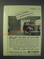 1942 Austin Cars Ad - Now, one car must do the work of two