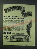 1942 Ilford Micro-Copy Film Ad - Permanent duplicates
