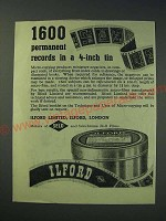 1942 Ilford Micro-Copy Film Ad - 1600 permanent records in a 4-inch tin