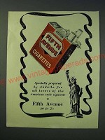 1942 Fifth Avenue Cigarettes Ad - Specially prepared