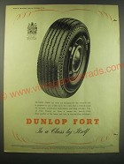 1952 Dunlop Fort Car Tyres Ad - Dunlop Fort In a class by itself