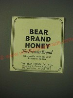 1944 Bear Brand Honey Ad - Bear Brand Honey the Premier Brand