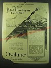 1940 Ovaltine Drink Ad - The 1939 Polish Himalayan Expedition