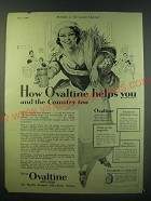 1940 Ovaltine Drink Ad - How Ovaltine helps you and the country too