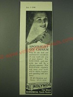 1940 Kolynos Dental Cream Ad - Spotlight on Charm