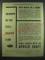 1930 Apollo Golf Club Steel Shafts Ad - Golf match in a storm