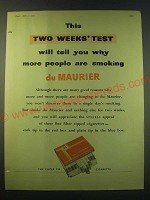 1953 du Maurier Cigarettes Ad - This two weeks' test will tell you why