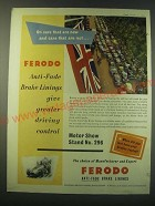 1953 Ferodo Brake Linings Ad - On cars that are new and cars that are not