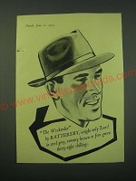 1953 Battersby Weekender Hat Ad - The Weekender by Battersby, weighs only 2 ozs!