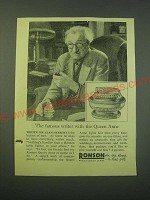 1953 Ronson Queen Anne Lighter Ad - Sir Alan Herbert - The famous writer