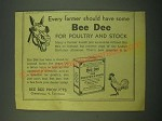 1953 Bee Dee For Poultry and Stock Ad - Every farmer should have some Bee Dee