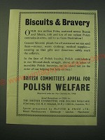 1942 British Committee's Appeal for Polish Welfare Ad - Biscuits & Bravery