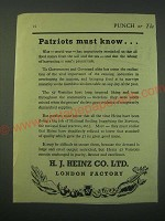 1942 Heinz 57 Varieties Foods Ad - Patriots must know