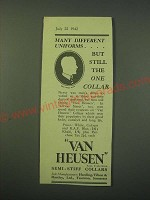 1942 Van Heusen Collars Ad - Many different uniforms but still the one collar
