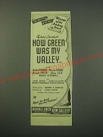 1942 How Green Was My Valley Movie Ad - The best film of the year