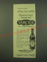 1942 Vamour Vermouth Ad - Connoisseurs commend Vamour the true Vermouth