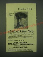 1942 Royal National Life-Boat Institution Ad - Think of these men