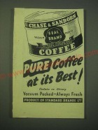 1942 Chase & Sanborn Coffee Ad - Pure coffee at its best