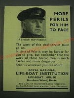 1942 Royal National Life-Boat Institution Ad - More perils for him to face