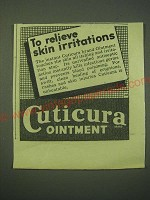 1942 cuticura ointment Ad - To relieve skin irritations