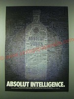 1989 Absolut Vodka Ad - Absolut Intelligence