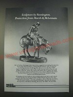 1989 Marsh & McLennan Insurance Ad - Sculpture by Remington.