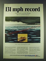 1970 Evinrude V-4 Outboard Motor Ad - 131 mph record it showed us some things