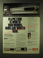 1989 JVC HR-S6600, HR-S5500 and SR-S10000 Super VHS VCRs Ad