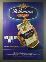 1989 Rothmans King Size Cigarettes Ad - Real King Size Taste
