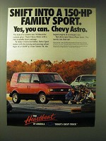 1989 Chevy Astro Ad - Shift into a 150-hp Family Sport. Yes, you can.