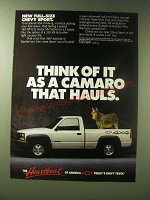 1989 Chevy Sport Truck Ad - Think of it as a Camaro that hauls