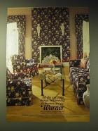 1989 Warner Wallcoverings and Fabric Ad - Victoria EPW-1075, Fireze EPW-1222