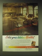1989 Merillat Heather Oak Cathedral Kitchen Cabinets Ad - Color your kitchen