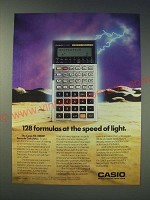 1989 Casio FX-5000F Formula Calculator Ad - 128 formulas at the speed of light