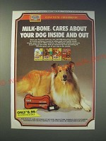 1989 Milk-Bone Dog Biscuits Ad - Milk-Bone cares about your dog inside and out