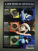 1989 Citizen Watches Ad - Aqualand, Altichron, Aerochron - A new sense