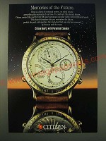 1989 Citizen Quartz with Perpetual Calendar watch Ad - Memories of the Future