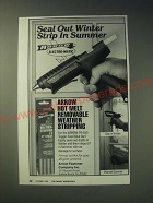 1989 Arrow Hot Melt Removable Weather Stripping Ad - Seal out winter strip