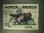 1989 Mikuni RS40 Carburetor Ad - Rob Muzzy - Power Broker