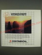1989 Continental Airlines Ad - Continental's Australia. Everything but déjà vu.