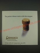 1989 Cordorniu Champagne Ad - The perfect dinner starts with this stopper