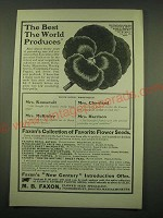 1902 M.B. Faxon Flower Seeds Ad - The Best the World produces