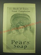 1902 Pears' Soap Ad - Back of every good complexion