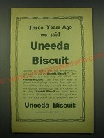 1902 nabisco Uneeda Biscuit Ad - Three years ago we said
