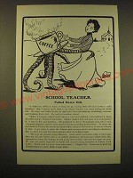 1902 Postum Food Coffee Ad - School Teacher Pulled Down Hill